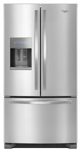 Whirlpool WRF555SDFZ 25.7 CU FT., EXTERIOR WATER AND ICE DISPENSER, LED LIGHTING, 1 FIXED/4 ADJUSTABLE SHELVES, 2 HC CRISPERS, TEMP CONTROLLED PANTRY, 6 DOOR BINS, ENERGY STAR