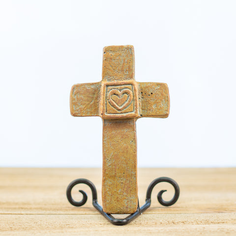 Cross with Boxed-In Heart in Green-Rust