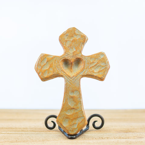 Cross with a Hollow Heart in Green-Rust