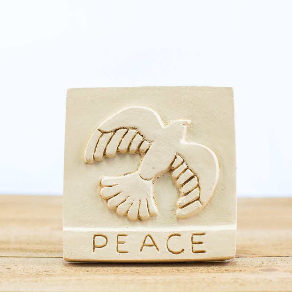 "Decorative Tile with ""Peace"" in White"
