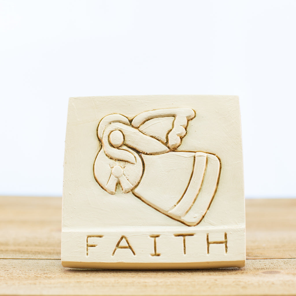 "Decorative Tile with ""Faith"" in White"