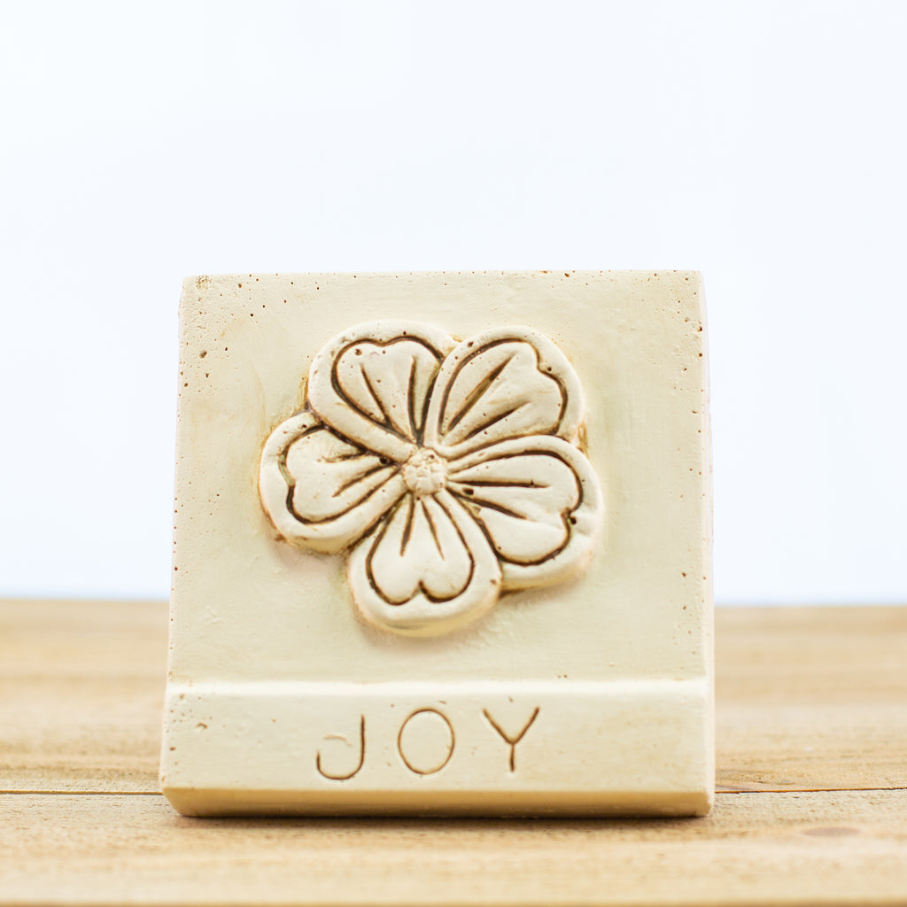 "Decorative Tile with ""Joy"" in White"