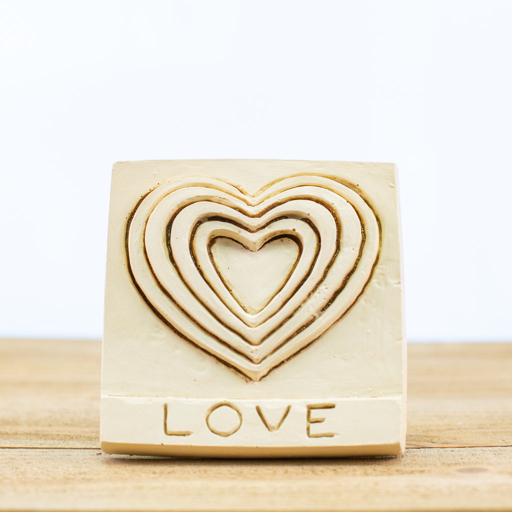 "Decorative Tile with ""Love"" in White"