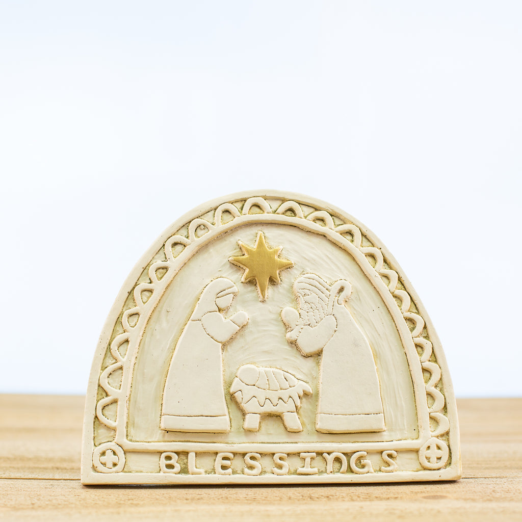 Decorative Plaque with Nativity Scene in White