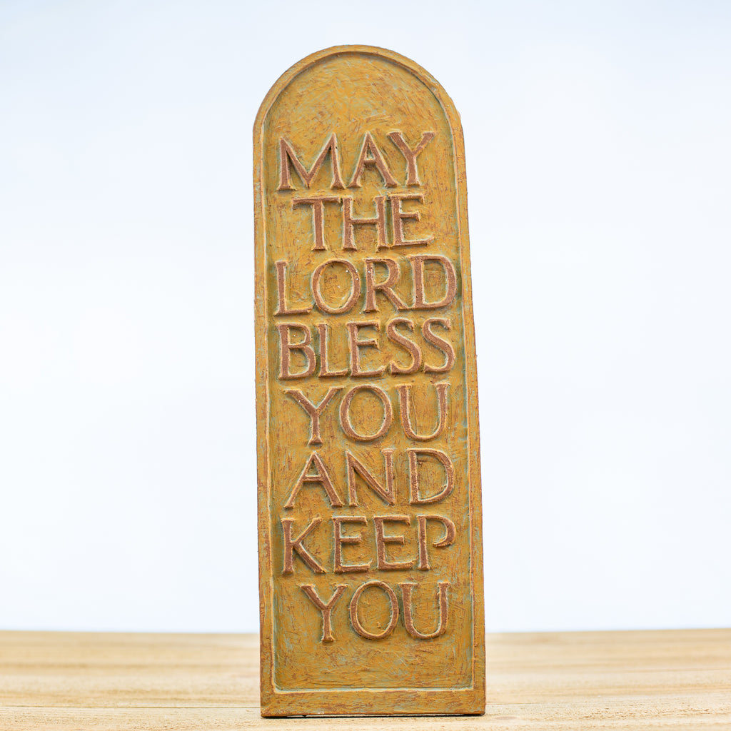 "Plaque Tablet with ""May the Lord Bless"" in Green-Rust"