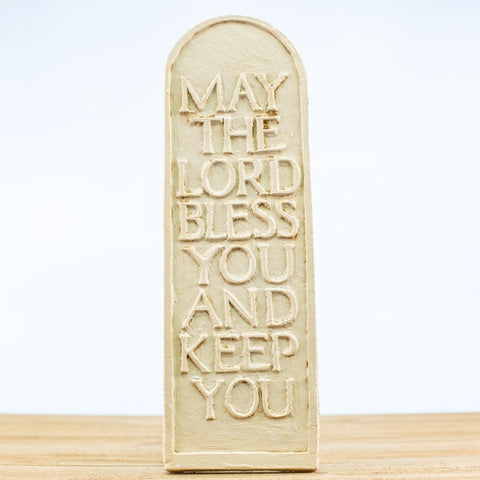 "Plaque with ""May the Lord Bless"" in White"