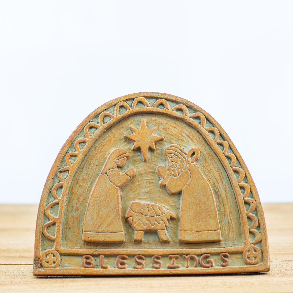 Decorative Plaque with Nativity Scene in Green-Rust