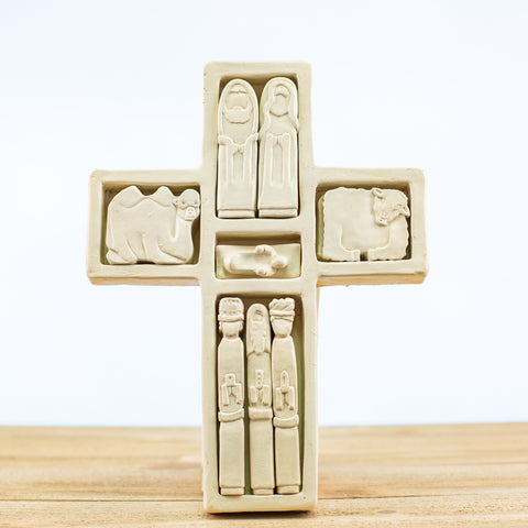 Cross Puzzle with Nativity Pieces