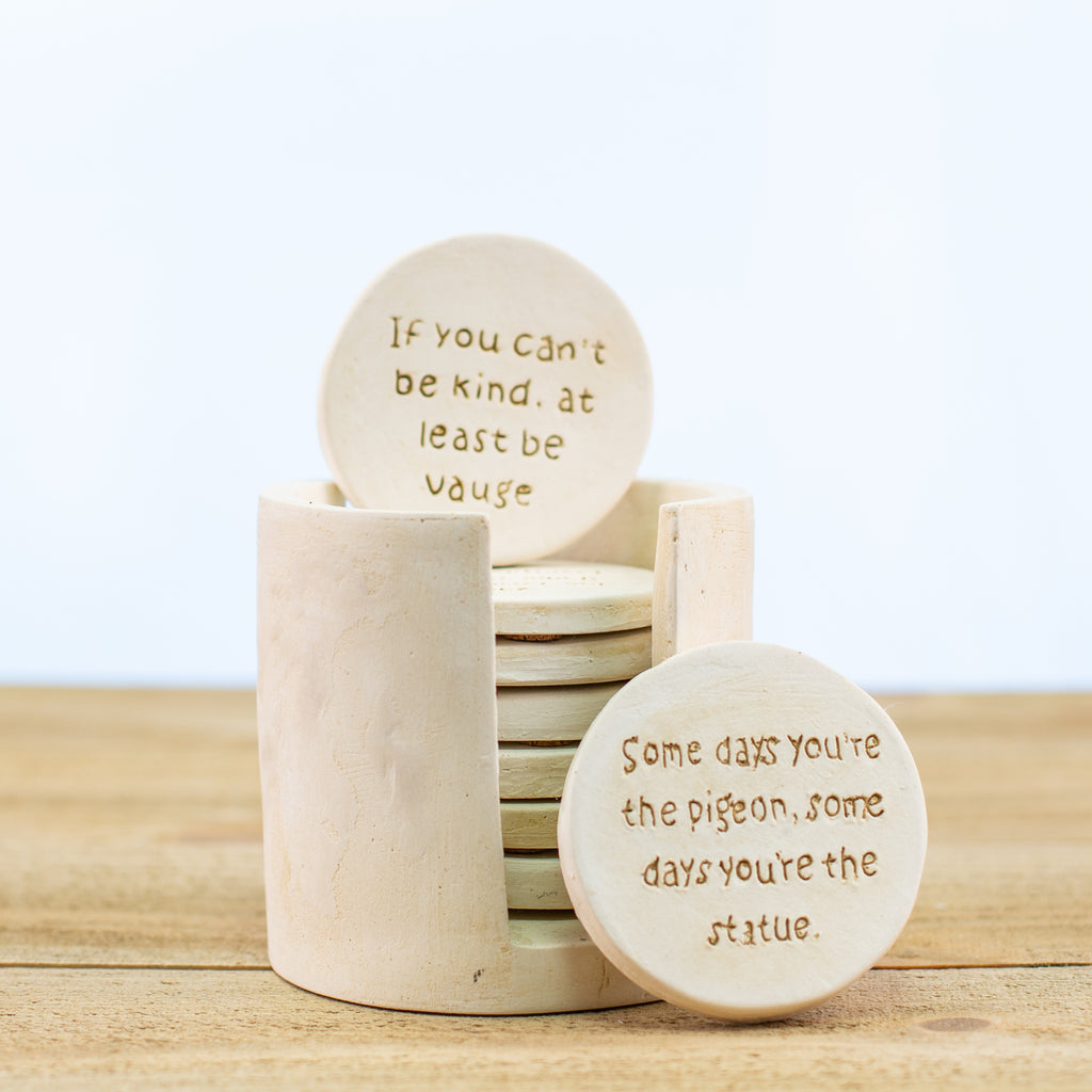 Comedy Coasters and Coaster Holder