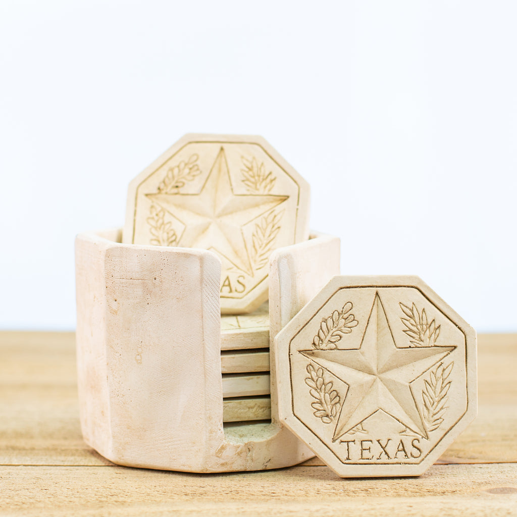 Coasters with Texas Star and Holder