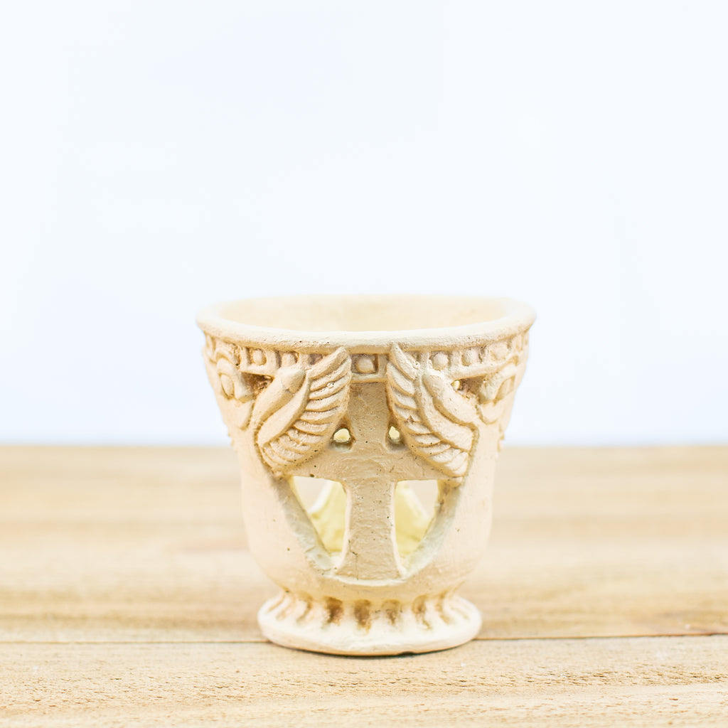 Angel and Cross Candle holder votive in white