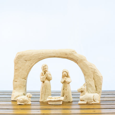 Nativity Scene 6 Pieces in White
