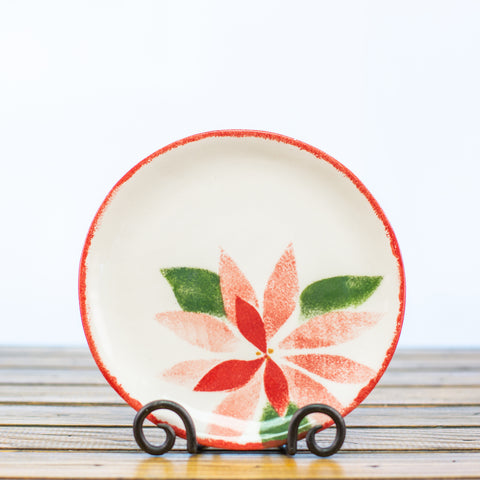 Small Plate with a Poinsettia
