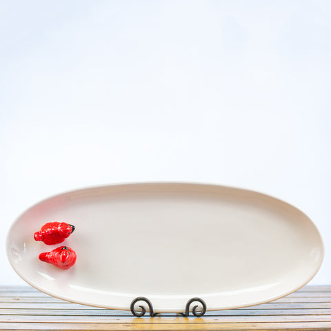 Oval Platter with 2 Cardinals