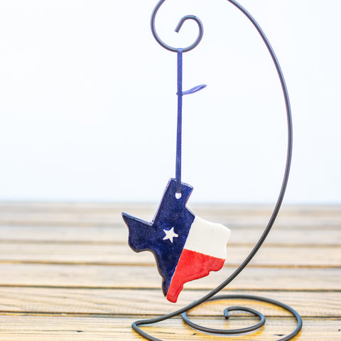 Texas Shape Ornament with Texas Flag Design