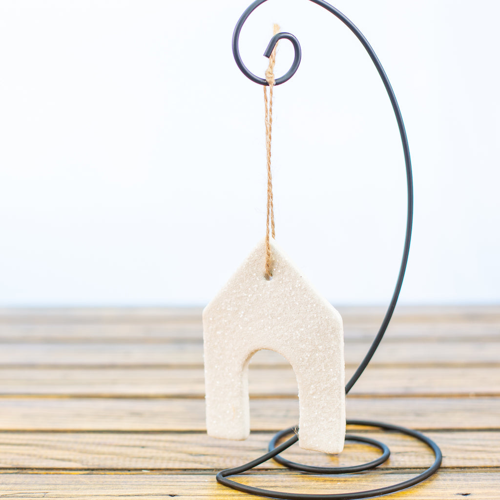 White Dog House Ornament with Sugar Frost