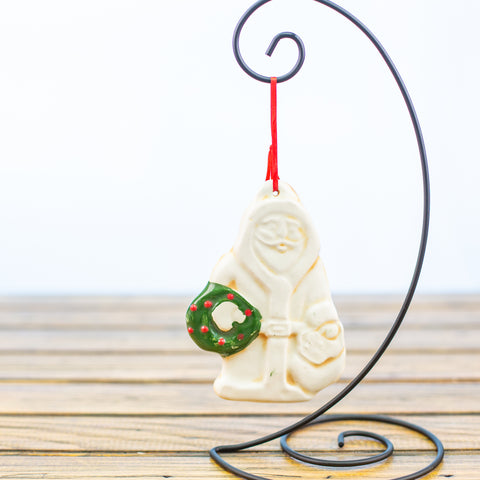 Santa Holding a Wreath Ornament