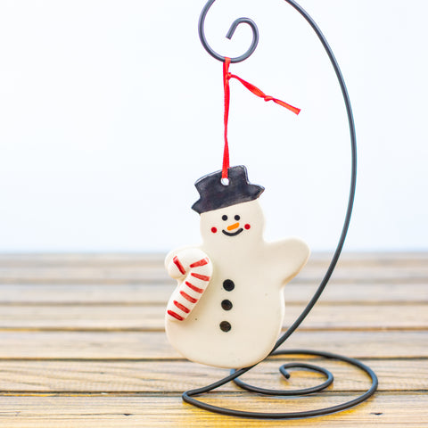Snowman with a Candy Cane Ornament