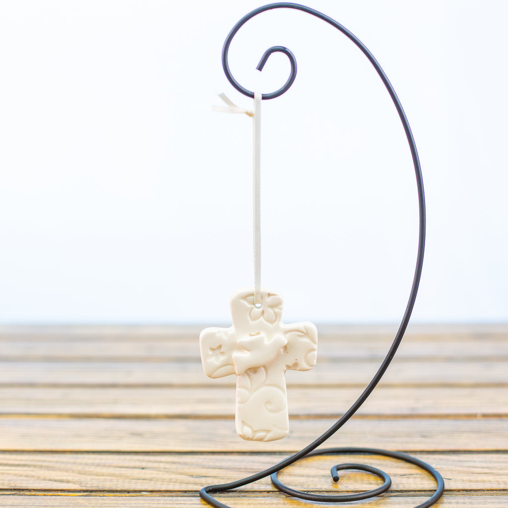 White Cross with a Dove Ornament