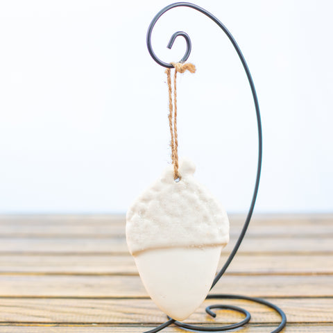 White Acorn with Sugar Frost Ornament