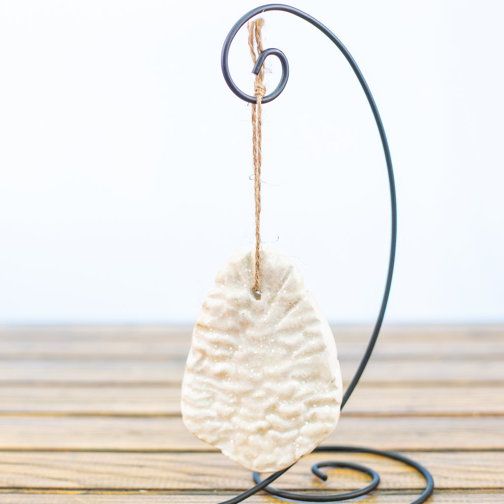 White Pinecone with Sugar Frost Ornament