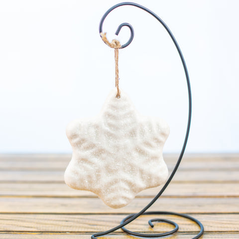White Snowflake with Sugar Frost Ornament