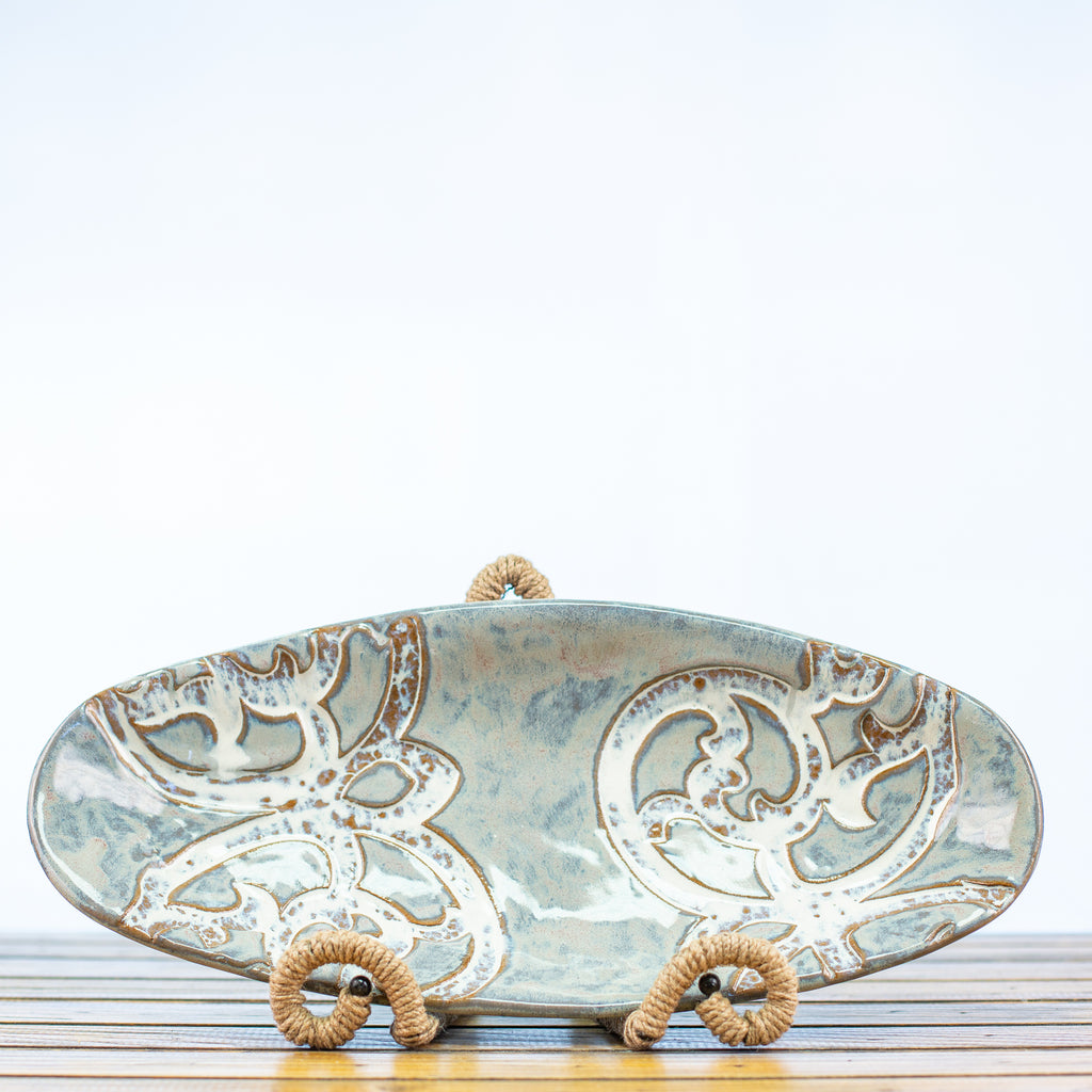 Oblong Bowl with Scroll Design