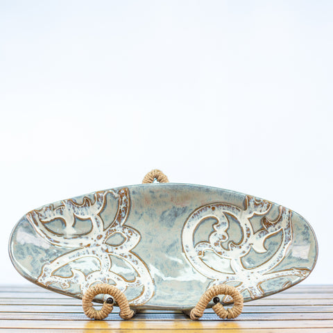 Ceramic Glazed Bowl Oval Shaped with Scroll Design