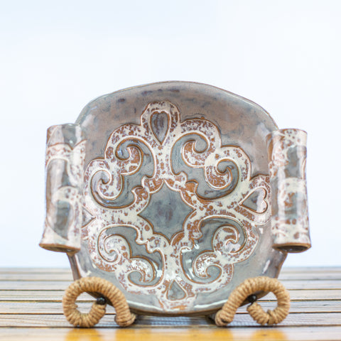 Ceramic Glazed Bowl with scroll design and handles