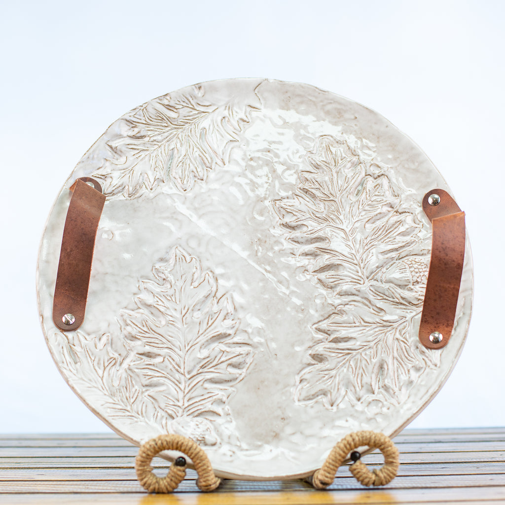 Ceramic Glazed Platter with leather handles and scroll design