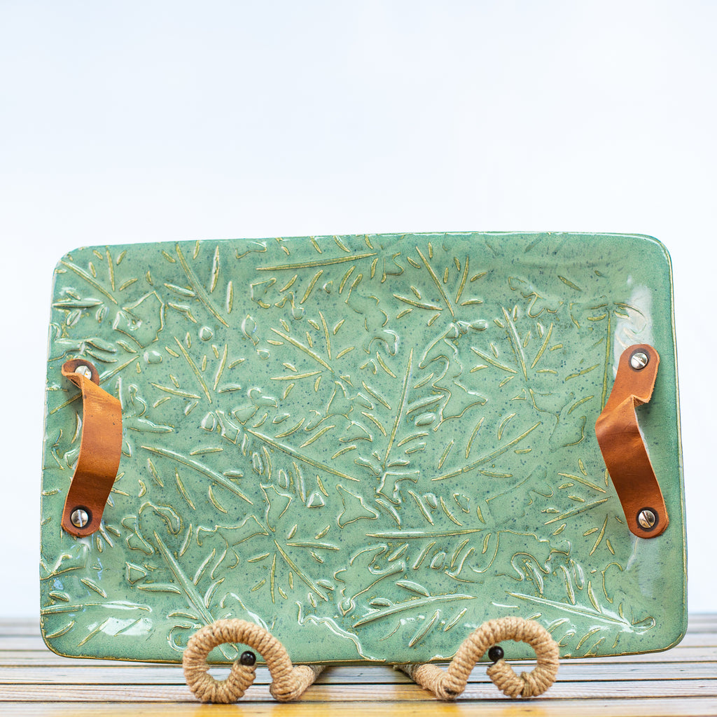 Ceramic Glazed Tray with Leaf design and leather handles