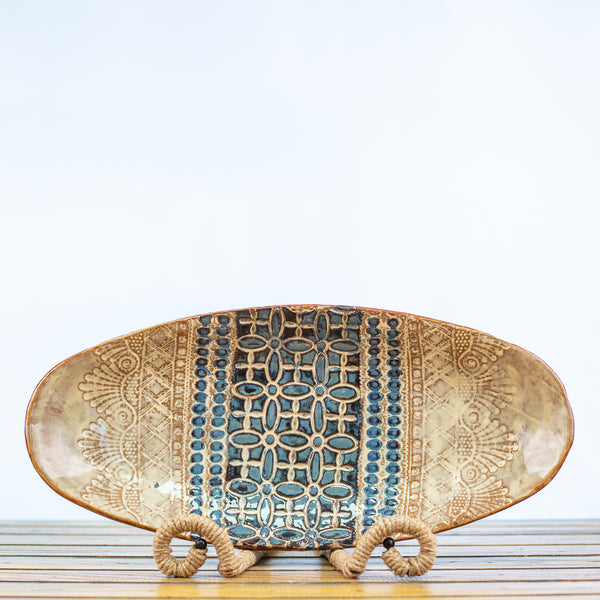 Ceramic Glazed Oblong Bowl Lace Design