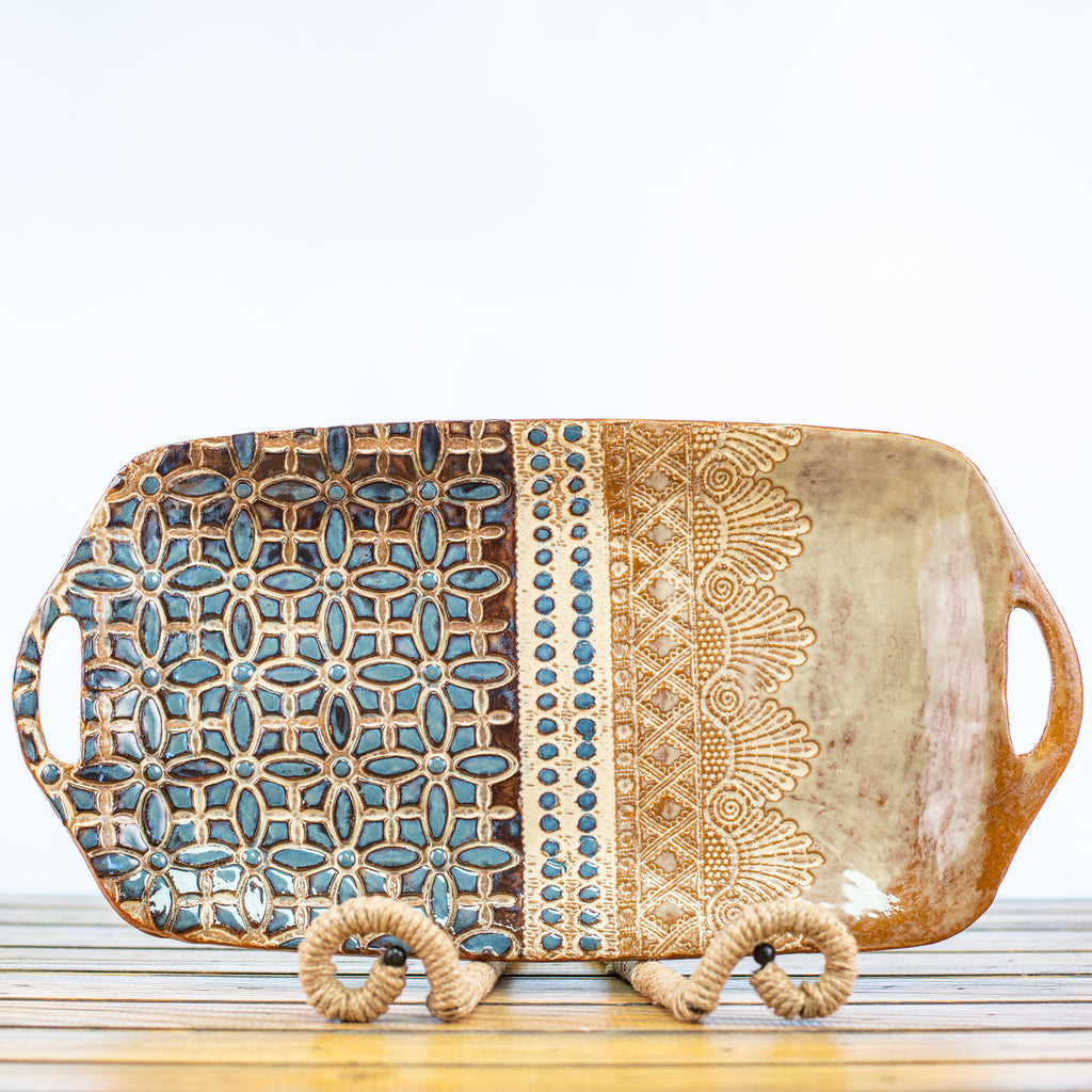 Ceramic Glazed Tray Rectangle with Lace Design