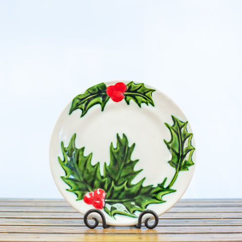 Ceramic Glazed Plate with Holly Design