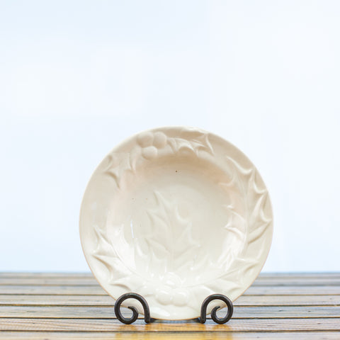 Ceramic Glazed Bowl with Holly Design in White
