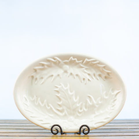 Ceramic Glazed Platter with Holly Design in White