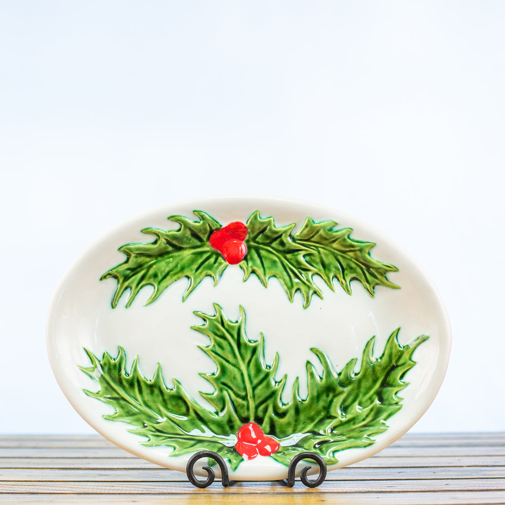Ceramic Glazed Platter with Holly Design