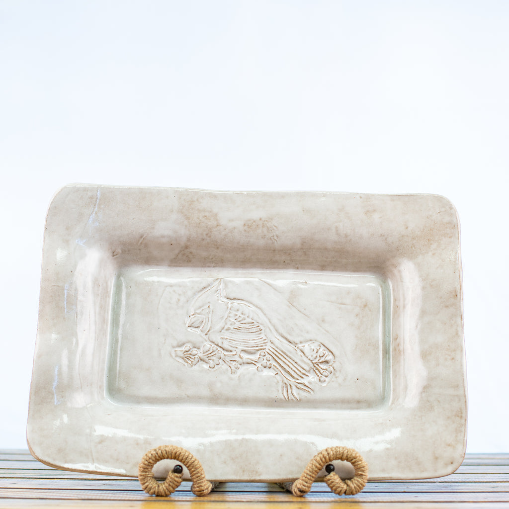 Ceramic Glazed Platter with Cardinal in White
