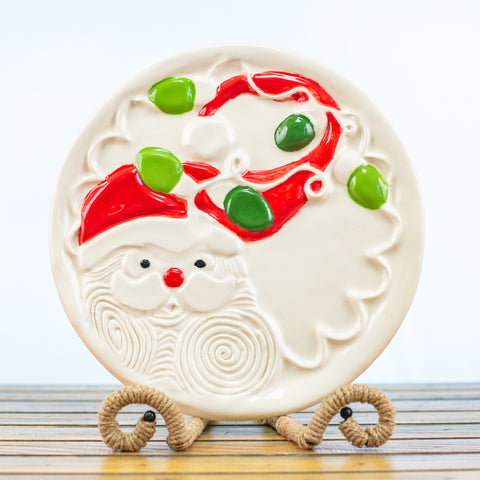 Ceramic Glazed Plate with Santa Design