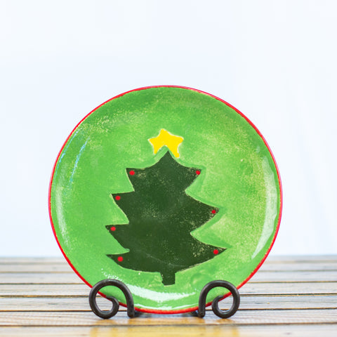 Plate with Christmas Tree in Green