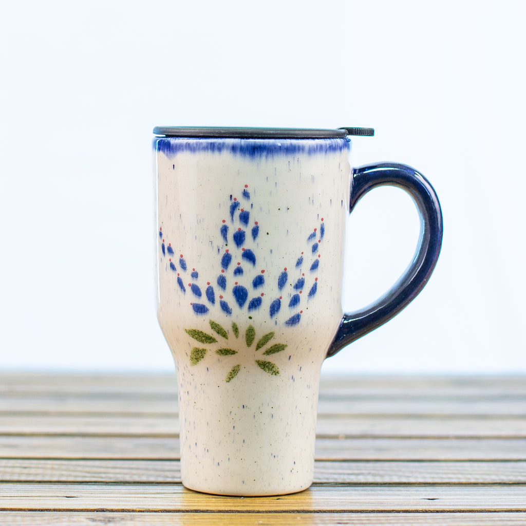 Ceramic Travel Mug with Bluebonnets Design and a Travel Top