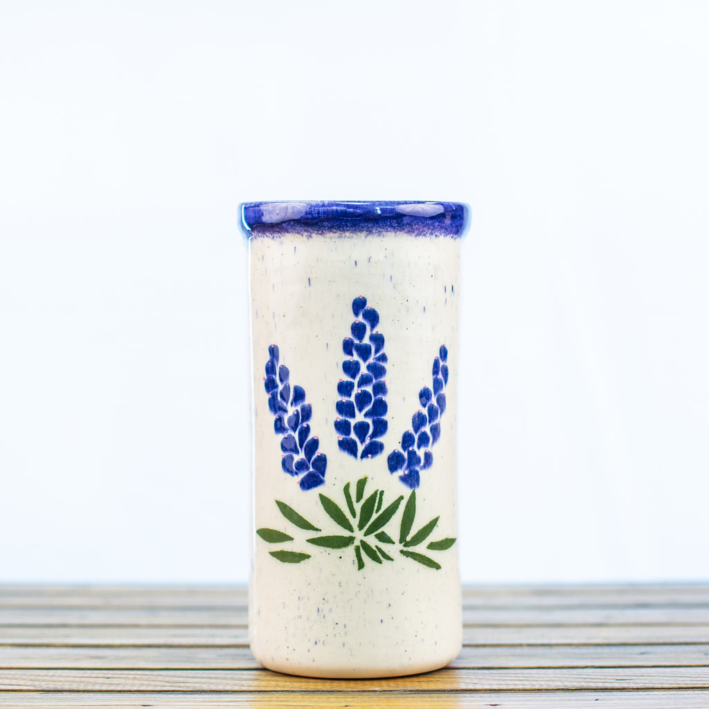 Ceramic Wine Chiller with Bluebonnets Design