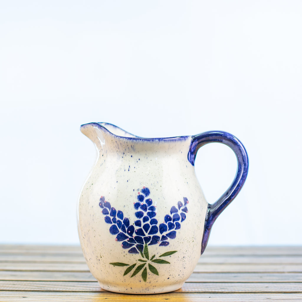 Large Pitcher with Bluebonnets Design