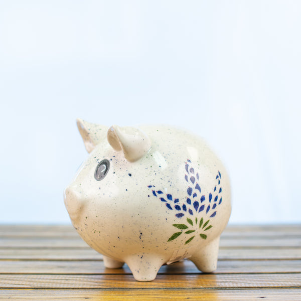 Piggy Bank with Bluebonnet Design