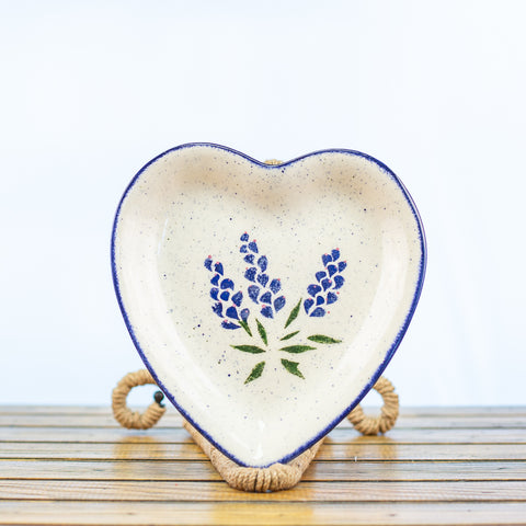 Heart Shaped Platter with Bluebonnet Design
