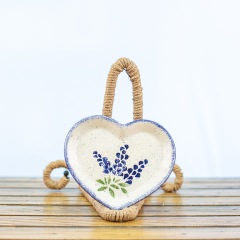 Heart Shaped Dish with Bluebonnets Design