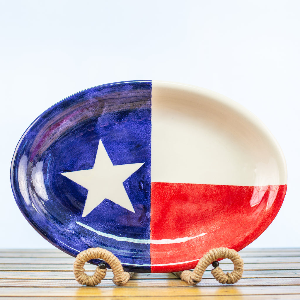 Oval Platter with Texas Design