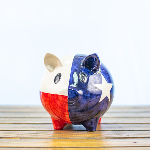 Piggy Bank with Texas Design