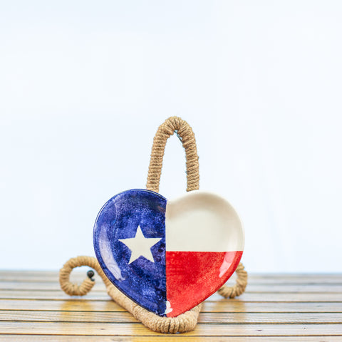 Heart Shape Plate with Texas Design
