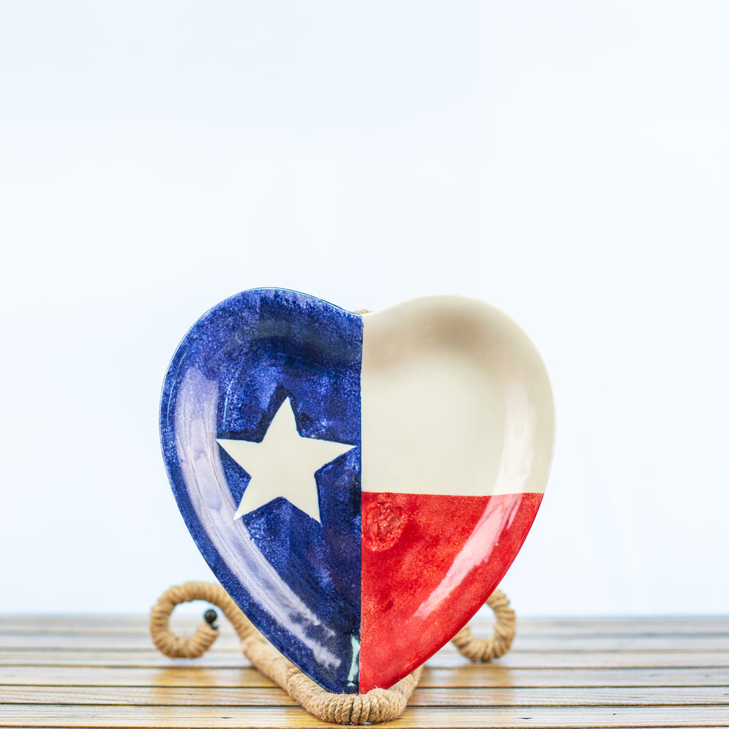 Platter Heart Shaped with a Texas Design